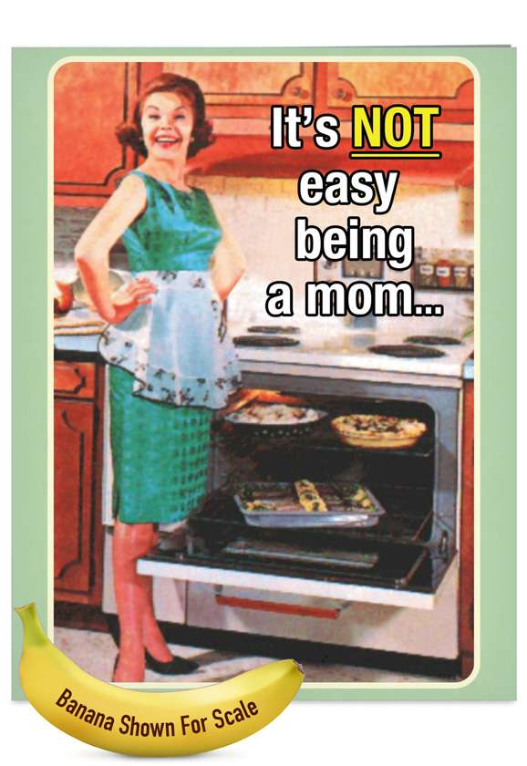 Motherhood Not Easy: Funny Mother's Day Jumbo Printed Greeting Card