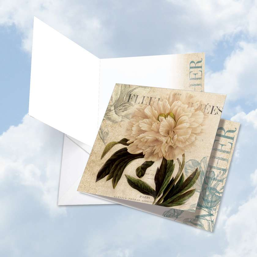 Painted Peonies: Creative Mother's Day Jumbo Square-Top Paper Greeting Card