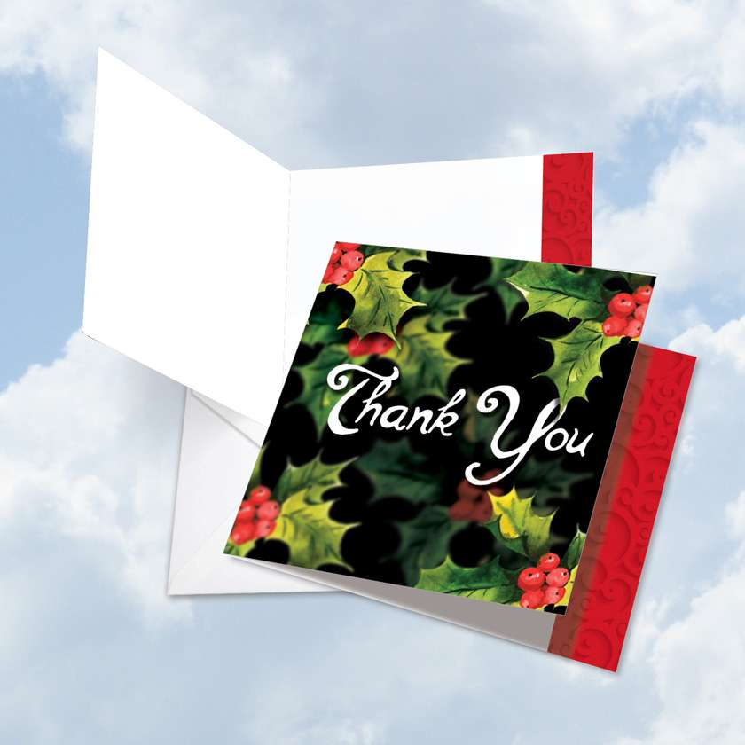 Multidimensional: Creative Christmas Thank You Jumbo Square-Top Paper Greeting Card