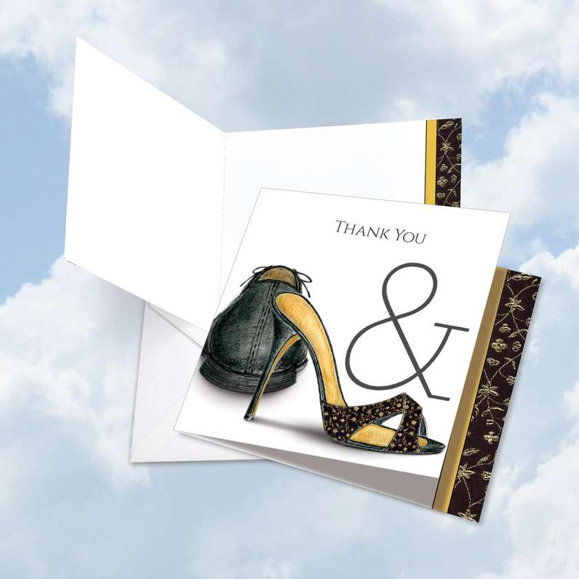 Perfect Pair: Creative Wedding Thank You Printed Greeting Card