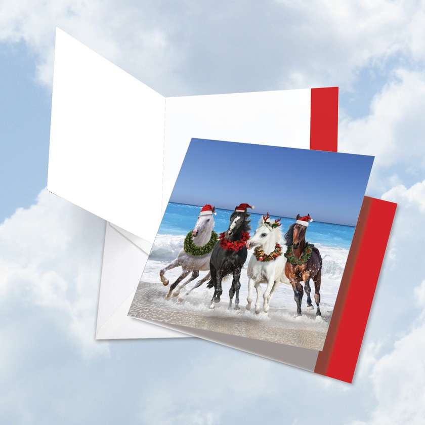 Gallops and Greetings: Stylish Christmas Thank You Jumbo Square-Top Paper Card