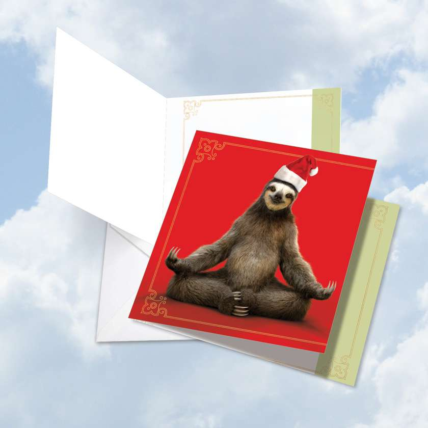 Santa Sloth Yoga: Stylish Merry Christmas Big Square-Top Card